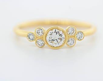 Seven Stone Diamond Cluster Engagement Ring, Diamond Cluster Ring, Big Diamond Engagement Ring
