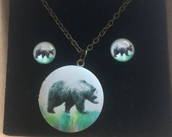 Bear locket and earring set