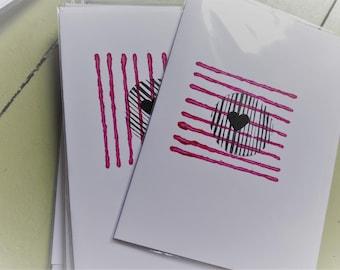 Hand printed heart card