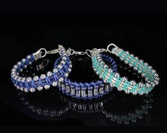 Silver hoop Bracelet, Handmade bracelet, Turquoise silver beads, summer jewelry, Adjustable bracelet, Macrame yarns woven, braided
