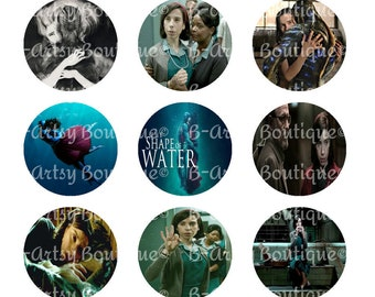 Shape of Water Movie bottle cap images, Instant Download...