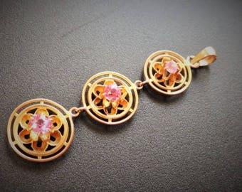 10k Sapphire Pendant / Pink Sapphire / Antique Art Nouveau Pendant / Victorian Buttercup Set Pendant 10k Solid Gold
