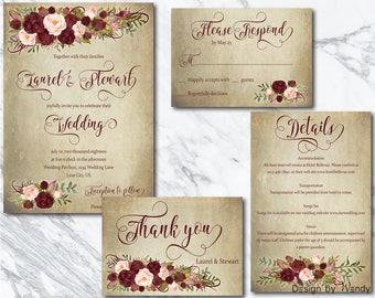 Marsala Wedding Invitation Suite Burgundy Boho Flowers On Aged Background And Blush Floral