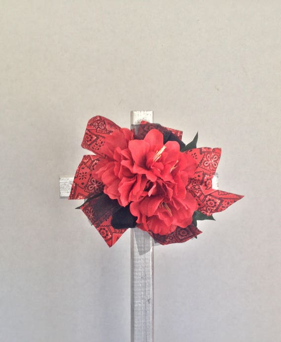 Cemetery cross, cemetery flowers, bkack and red team colors, grave marker, floralmemorials