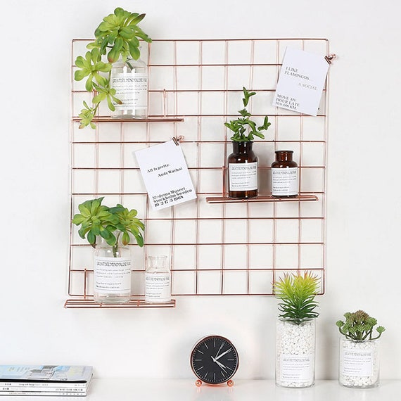 Rose Gold Grid Photo Wall Wire Mesh Display Panel