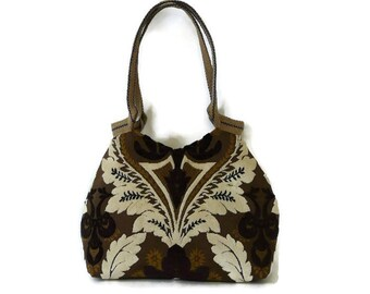 Brown white tote bag, Upholstery handbag, trendy shoulder bag, unique handbag, trendy design, baroque pattern, everyday bag, trendy purse,