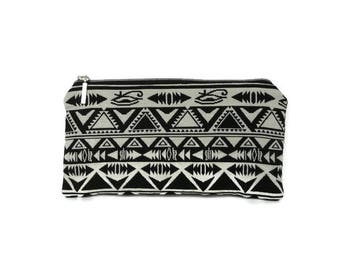 Tribal pencil case, cosmetic case, Small pouch, black and white  pouch, teacher gift, Stationary, tribal print, pencil pouch, cosmetic case