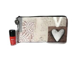 Pencil pouch heart, romantic pencil case, makeup pouch, rustic pen case, pencil case,  cosmetic case, feminine  pouch, valentine's gift