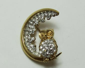 Signed Attwood & Sawyer Rhinestone Owl and Crescent Moon Brooch
