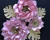 Large paper flowers, Paper flowers wall decor, Paper flower wall, Nursery paper flowers, Blush paper flowers, Girls nursery decor