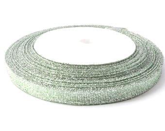 22 meters of 6 mm Green glitter satin ribbon