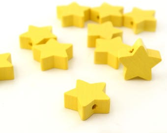 1 star yellow color wooden bead