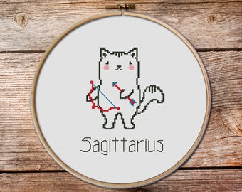 Sagittarius - zodiac sign, Sagittarius Cross Stitch, cute zodiac cross stitch, cute cross stitch, kawaii cat cross stitch, sagittarius