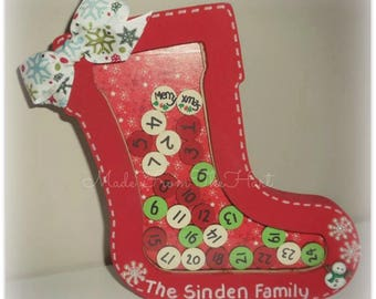 Personalised Freestanding Christmas Stocking Countdown Advent Calender