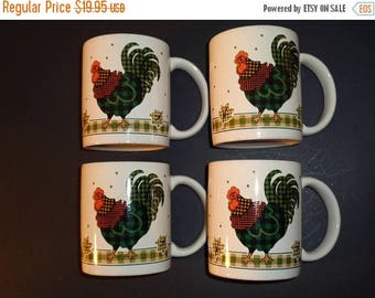 40% Vintage  ROOSTER Coffee MUGS - Plaid Coffee Mugs - Country Rooster Mug Set - Lot of 4
