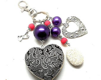 A scent! Silver bag charm, charm beads purple and pink heart charms and co.