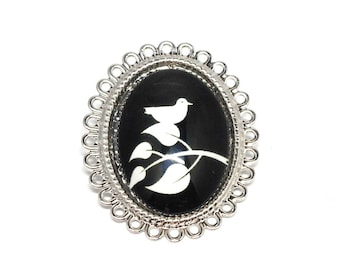 Jewel fantasy Bird on branch brooch