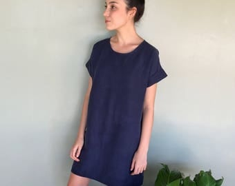 Navy Linen Tencel Dress -Loose Linen Dress - Tencel Tee Dress -Oversized Linen Dress - Knee Length Dress -Linen Summer Dress - Short Sleeves
