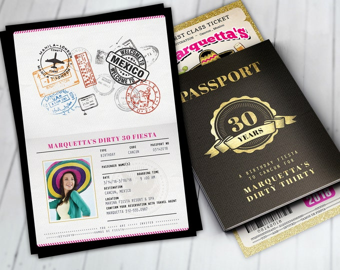Passport and ticket birthday invitation, travel birthday party invitation, cruise invitation, Mexico, Cancun Digital files only
