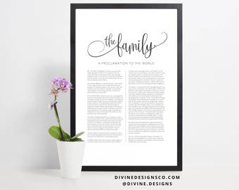 The Family Proclamation to the World Print or Printable - LDS Wall Decor