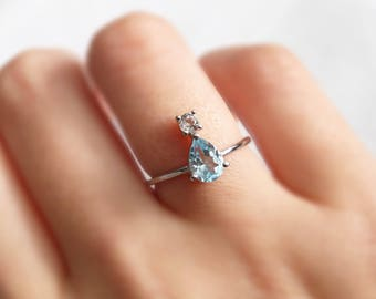Blue Topaz ring | engagement pear shaped ring | sterling silver ring | pear cut ring | handmade jewelry | gift for women | teardrop ring
