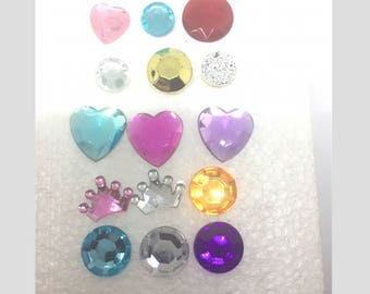 Jewel Pushpins Thumb Tacks or Magnets You Pick Number & Type Red, Blue, Gold, Yellow, Purple, Green