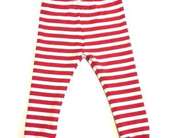 SALE Red and White Stripe Leggings