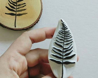 Fern / Tropical / hand carved rubber stamp /