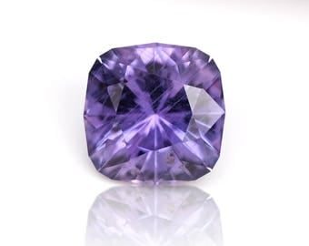 Calibrated 7x7mm Natural, Untreated Purple Sapphire from Tanzania. 1.72 ct Cushion Cut, Precision Faceting.
