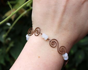 Copper and Moonstone S Spiral Bracelet with Toggle Clasp - Natural Moonstone Beads , Playful , Blue Flash , Fun