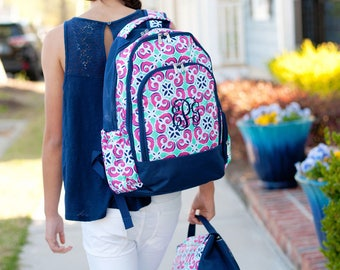 Monogrammed Backpack and Lunchbox, Mia Tile Backpack and Lunchbox