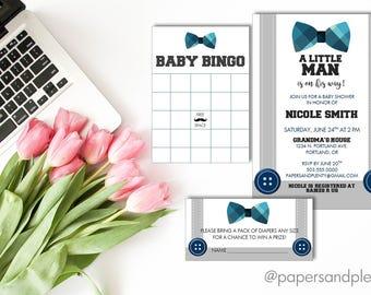 "Baby Shower ""Little Man"" Invitation/Invite | Bow Tie Baby Shower Invite | Baby BINGO Game Card | Diaper Raffle Card | Baby Shower Games"