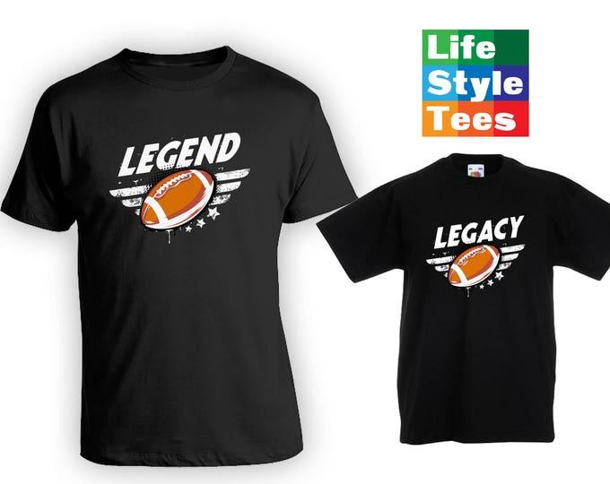 Featured listing image: Legend Legacy Football Buddies Matching Father Son Shirts, Matching Sibling Shirts, Gifts for Him, Bodysuit, Gifts for boys CT-1334-1335