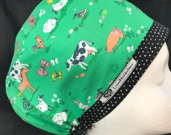 Barnyard Pigs Cows Dog Surgical Cap scrub Hats for Women Green Black Heart dot band Nurse Euro CRNA Caps OR Tech Hats Surgery LoveNstitchies