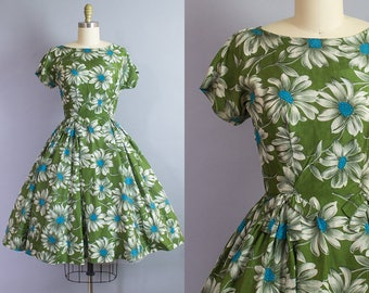 1950s Silk Daisy Print Dress/ 50s floral party dress/ Extra Small (32b/24w)