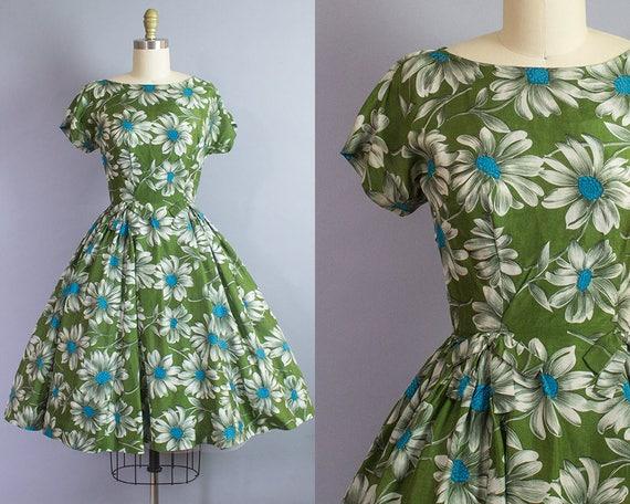 1950s Silk Daisy Print Dress/ Extra Small (32b/24w)