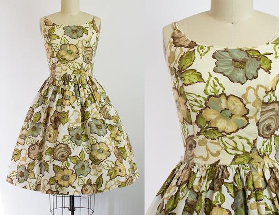 1950s Floral Cotton Pique Sundress   XS (32B/25W)