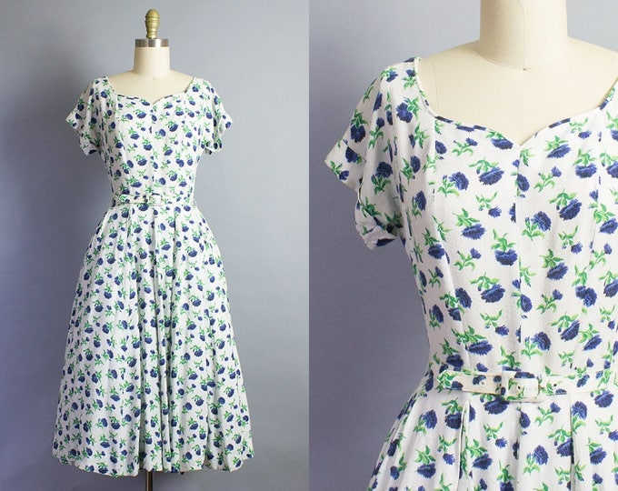 1940s Blue Floral Dress/ Medium (36B/27W)