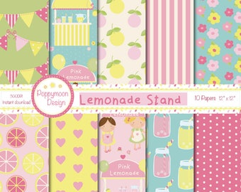 Lemonade stand, digital printable paper pack