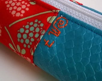 Pencil case blue and orange