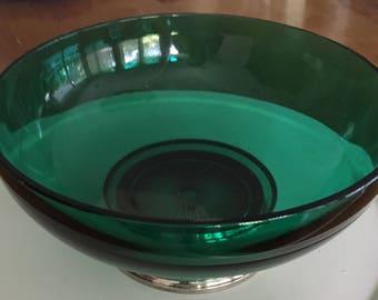 Vintage Emerald Pedestal Bowl
