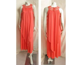 Vintage 1970s Dress Layered Gown with Macrame Neckline, Side Ties Boho