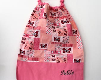 "Christmas, birthday, canteen * napkin, bib, canteen, with elastic at the neck, cotton butterflies, custom ""Adèle"""