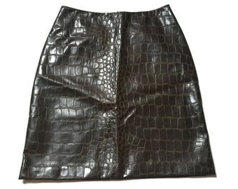 Vintage Vegan Snakeskin Crocodile Skirt Black PVC Mini Skirt