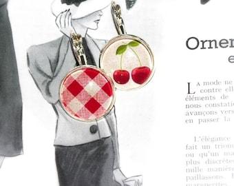 round cherry retro earrings