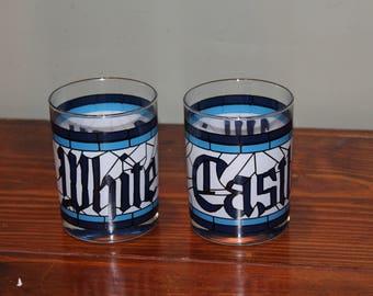 White Castle Restaurant Hamburgers Glass tumbler blue white stained glass 16 oz