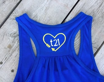 "Down Syndrome Awareness Shirts ~ WOMEN - Bella & Canvas Flowy Racerback Tank Top with Yellow and Blue ""T21"" Heart Logo on back"
