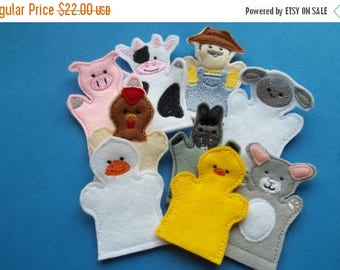 On sale Old  MacDonald Finger Puppets : Storytime . Classic .Nursery Rhyme.  Old MacDonald Farm . Toddler . Learning .
