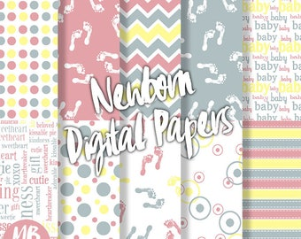 NEWBORN Digital Paper, Printable pdf, newborn footprints, chevron, dots, stripes, baby blue, baby pink, baby yellow, printable papers