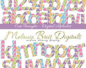 CUTE TRIANGLES ALPHABET, digital alphabet clipart, triangle letters & numbers, scrapbook alphabet, printable alphabet pdf, instant download